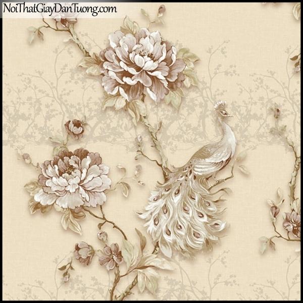PLENUS, Giấy dán tường Hàn Quốc 2630-3, Giấy dán tường 3D hoa văn đẹp, chim, hoa hồng, màu vàng kem