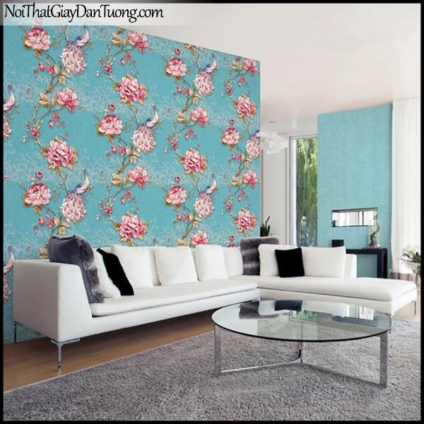 PLENUS, Giấy dán tường Hàn Quốc 2630-4 - 2629-5m PC, Giấy dán tường 3D hoa văn đẹp, chim, hoa hồng, nền xanh, phối cảnh