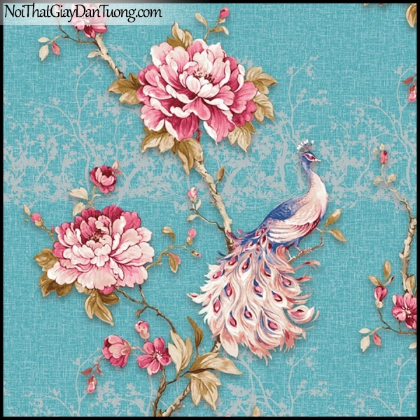 PLENUS, Giấy dán tường Hàn Quốc 2630-4, Giấy dán tường 3D hoa văn đẹp, chim, hoa hồng, nền xanh