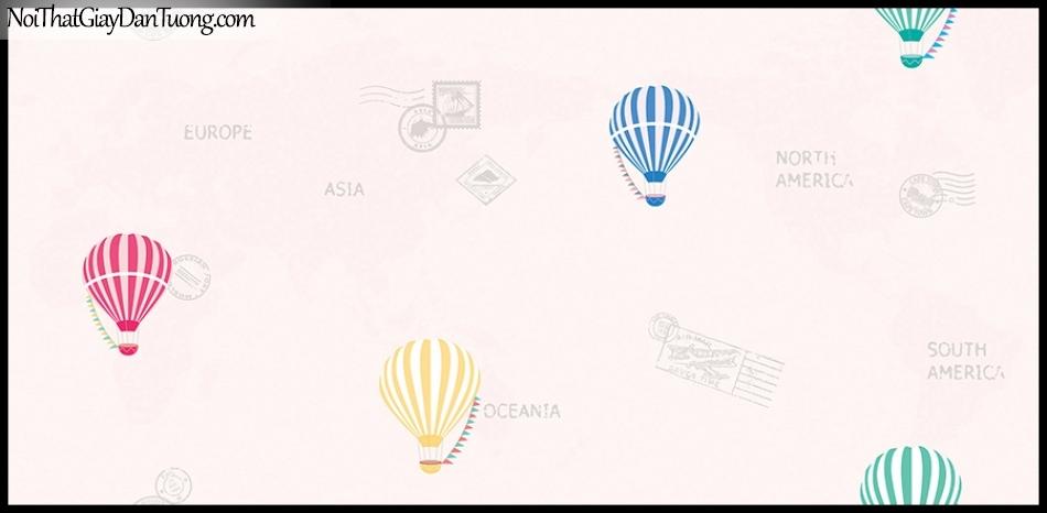 STAY, Giấy dán tường Hàn Quốc 425-1, Giấy dán tường nền hồng, họa tiết chữ nổi các nước
