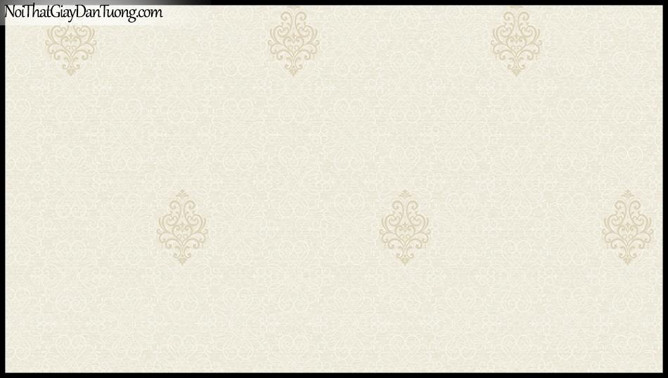 STAY, Giấy dán tường Hàn Quốc 427-2, Giấy dán tường 3D giả gạch, họa tiết hoa văn Châu Âu cổ điển, màu vàng kem