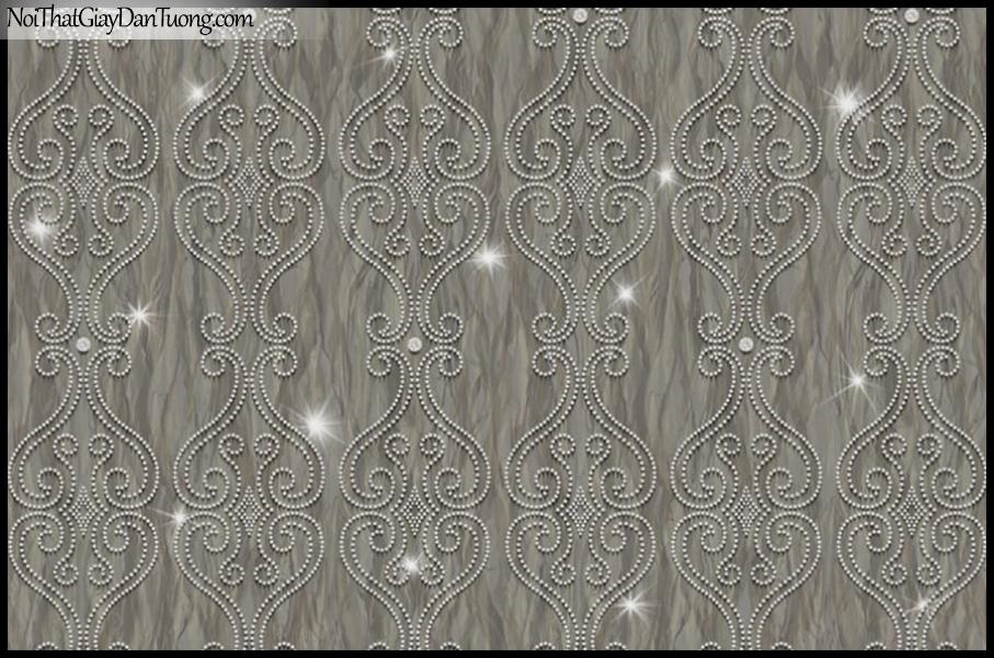 PLACE 3 (III), Giấy dán tường Hàn Quốc 2640-3, Giấy dán tường 3D họa tiết hoa văn cổ điển Châu Âu, màu nâu đen