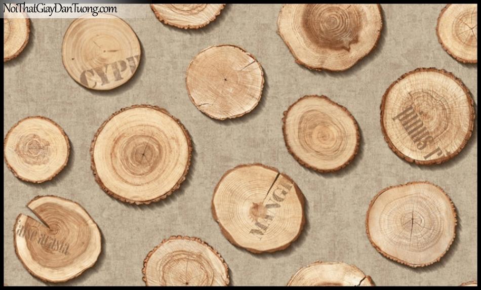 PLACE 3 (III), Giấy dán tường Hàn Quốc 2642-3, Giấy dán tường 3D giả gỗ, màu cam xám