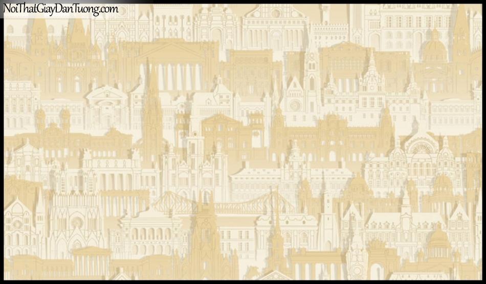 PLACE 3 (III), Giấy dán tường Hàn Quốc 2644-1, Giấy dán tường 3D họa tiết thành phố, màu vàng kem