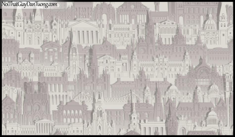 PLACE 3 (III), Giấy dán tường Hàn Quốc 2644-2, Giấy dán tường 3D họa tiết thành phố, màu nâu xám
