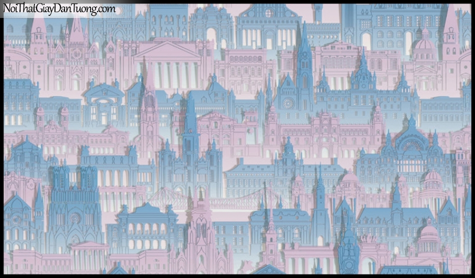 PLACE 3 (III), Giấy dán tường Hàn Quốc 2644-3, Giấy dán tường 3D họa tiết thành phố, màu tím xanh