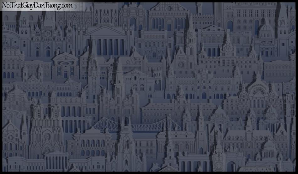 PLACE 3 (III), Giấy dán tường Hàn Quốc 2644-4, Giấy dán tường 3D họa tiết thành phố, màu xanh đen