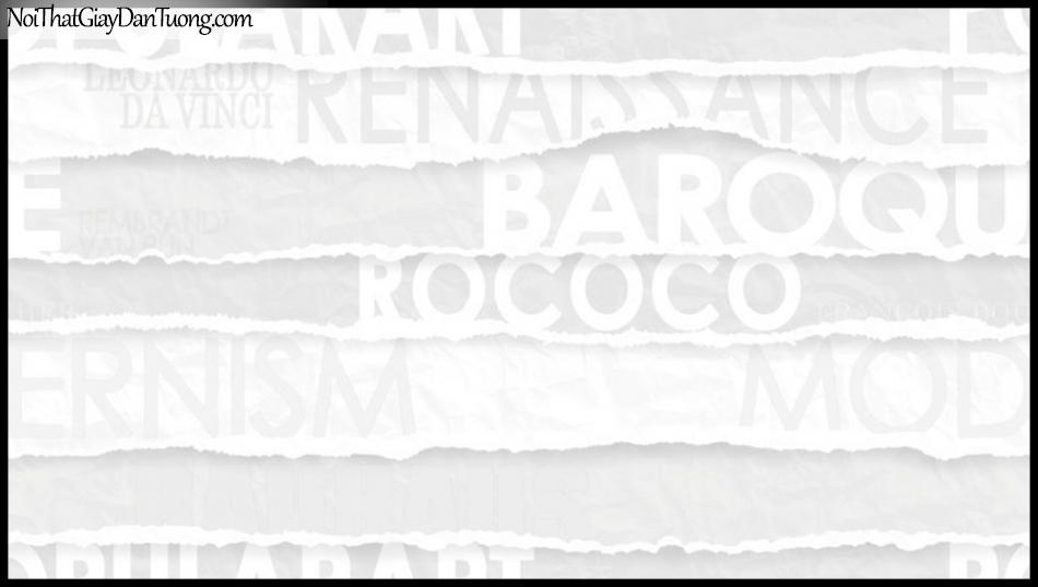 PLACE 3 (III), Giấy dán tường Hàn Quốc 2649-1, Giấy dán tường 3D họa tiết chữ nổi, màu trắng sữa