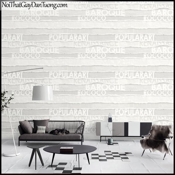 PLACE 3 (III), Giấy dán tường Hàn Quốc 2649-1m PC, Giấy dán tường 3D họa tiết chữ nổi, màu trắng sữa, phối cảnh