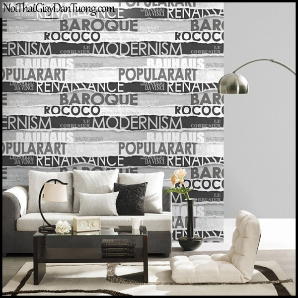 PLACE 3 (III), Giấy dán tường Hàn Quốc 2649-3,2648-2m PC, Giấy dán tường 3D họa tiết chữ nổi, màu đen trắng, phối cảnh