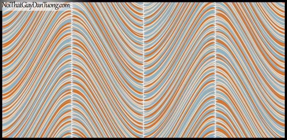 PLACE 3 (III), Giấy dán tường Hàn Quốc 2653-3, Giấy dán tường 3D họa tiết, vân kẻ, đường viền, màu cam xanh