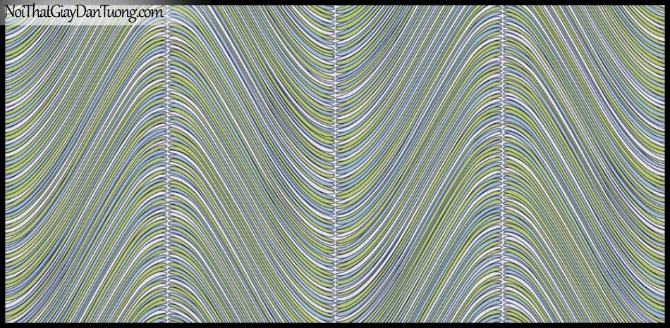 PLACE 3 (III), Giấy dán tường Hàn Quốc 2653-5, Giấy dán tường 3D họa tiết, vân kẻ, đường viền, màu xanh