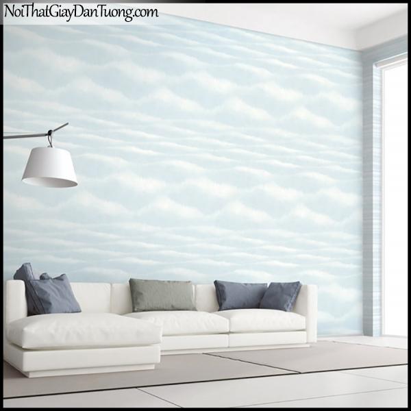 PLACE 3 (III), Giấy dán tường Hàn Quốc 2655-2,2654-2m PC, Giấy dán tường 3D họa tiết, vân kẻ, hình đám mây, màu xanh, phối cảnh