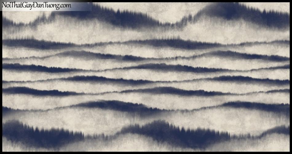 PLACE 3 (III), Giấy dán tường Hàn Quốc 2655-4, Giấy dán tường 3D họa tiết, vân kẻ, hình đám mây, màu xám đen