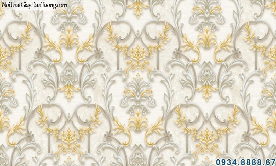 ALISHA, Giấy dán tường 3D màu kem điểm vàng, hoa văn cổ điển xám vàng 3901-2
