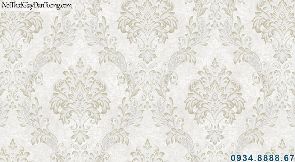 ALISHA, Giấy dán tường hoa văn cổ điển màu kem, vàng nhạt 3906-2