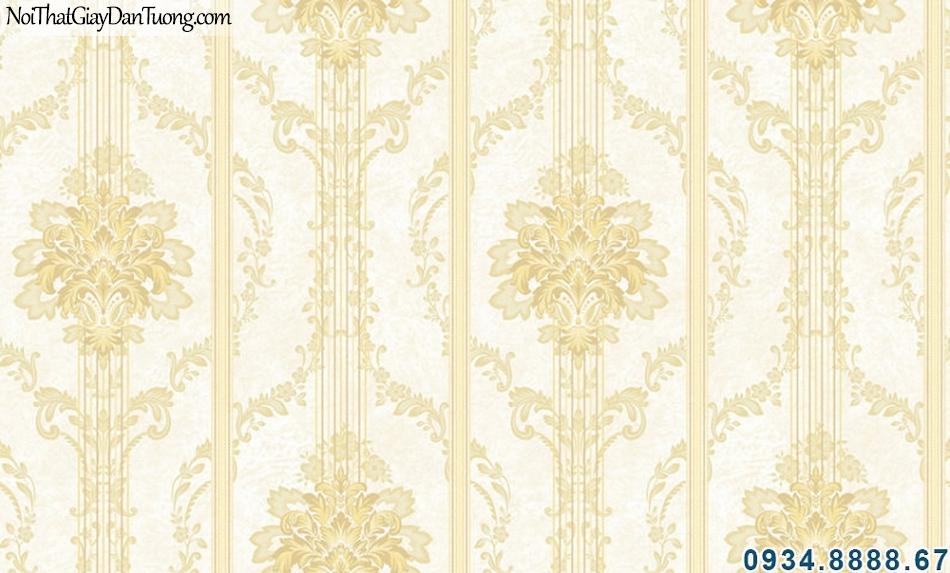 ALISHA, Giấy dán tường hoa văn sọc màu vàng, điểm nhấn cho phòng ngủ, phòng khách 3907-3