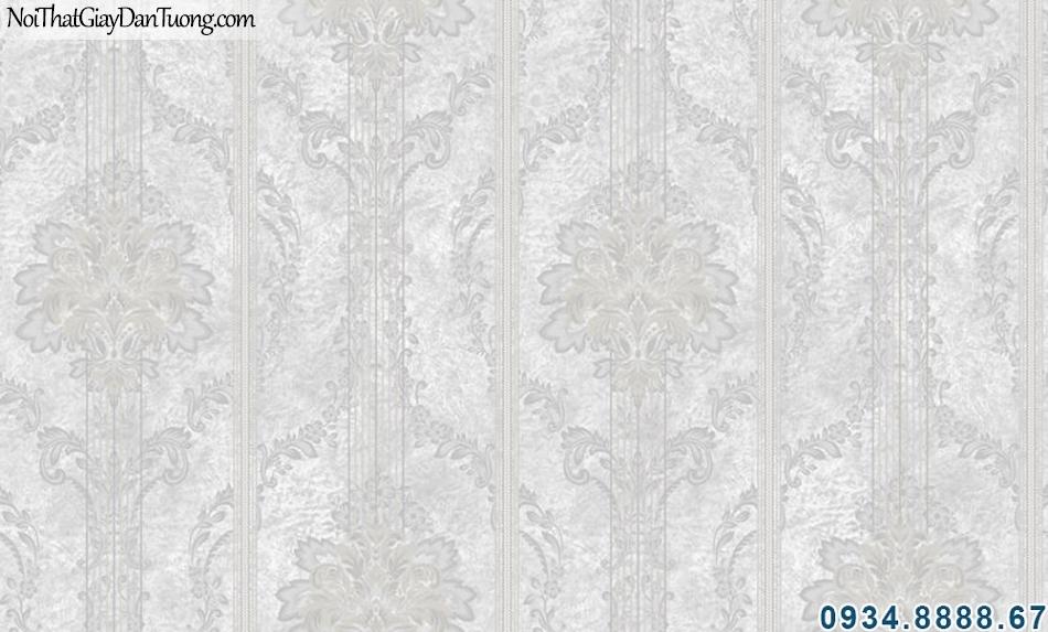 ALISHA, Giấy dán tường sọc bông, hoa văn xen sọc, sọc xám 3907-1
