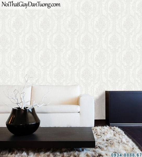 ALISHA, Giấy dán tường sọc trắng xám phù hợp mọi không gian nội thất 3907-2
