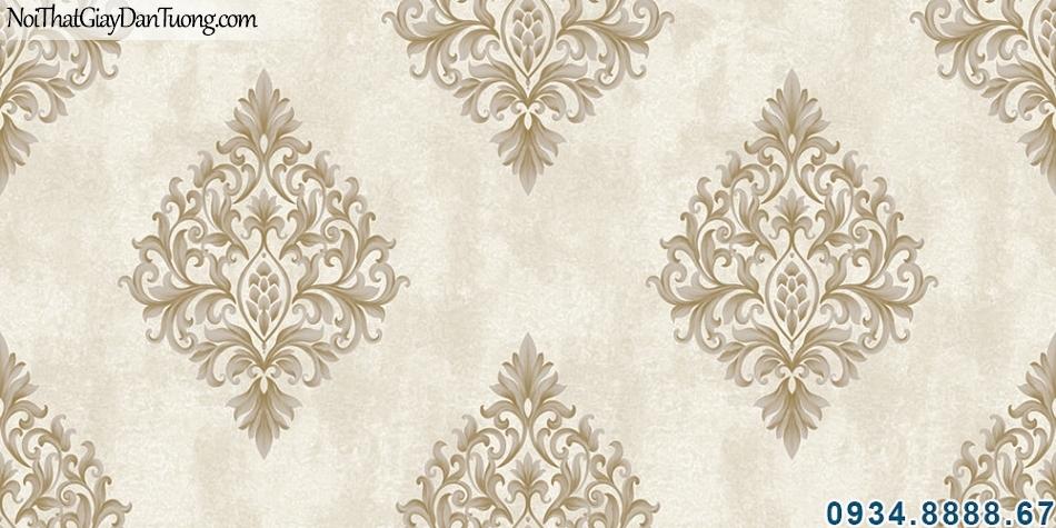 ALISHA, Giấy dán tường giấy dán tường hoa văn cổ điển xếp đều màu xám kem 3921-2