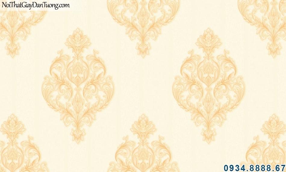 ALISHA, Giấy dán tường họa tiết Châu Âu cổ điển màu vàng 3932-3, tháo gỡ giấy dán tường, làm mới giấy dán tường