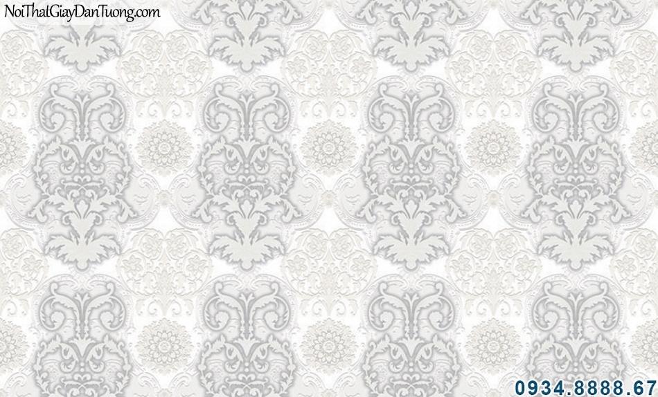 ALISHA, Giấy dán tường hoa văn cổ điển 3D màu xám, xu hướng giấy sử dụng giấy dán tường 2019 - 2020 3929-1