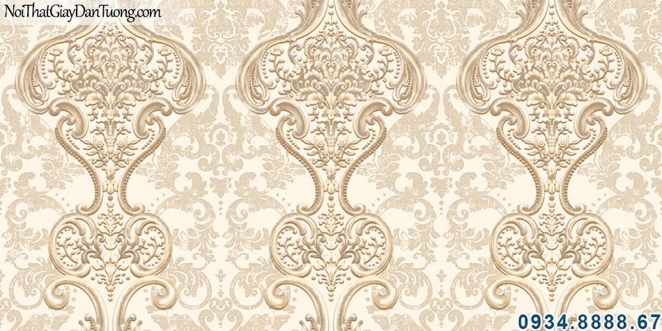 ALISHA, Giấy dán tường hoa văn cổ điển màu vàng, điểm nhấn phòng khách đẹp, trang trí giấy dán tường cho không gian nội thất sang trọng 3924-2