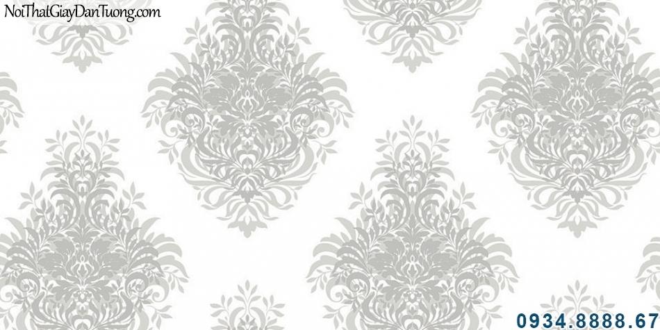 ALISHA, Giấy dán tường hoa văn trên nền trắng phong cách cổ điển, nhận thi công giấy dán tường Sài Gòn 3926-1