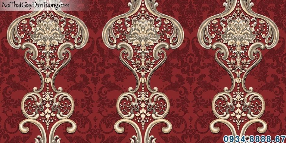 ALISHA, Giấy dán tường màu đỏ, hoa văn cổ điển màu đẹp tươi, màu đỏ bordeaux 3924-3