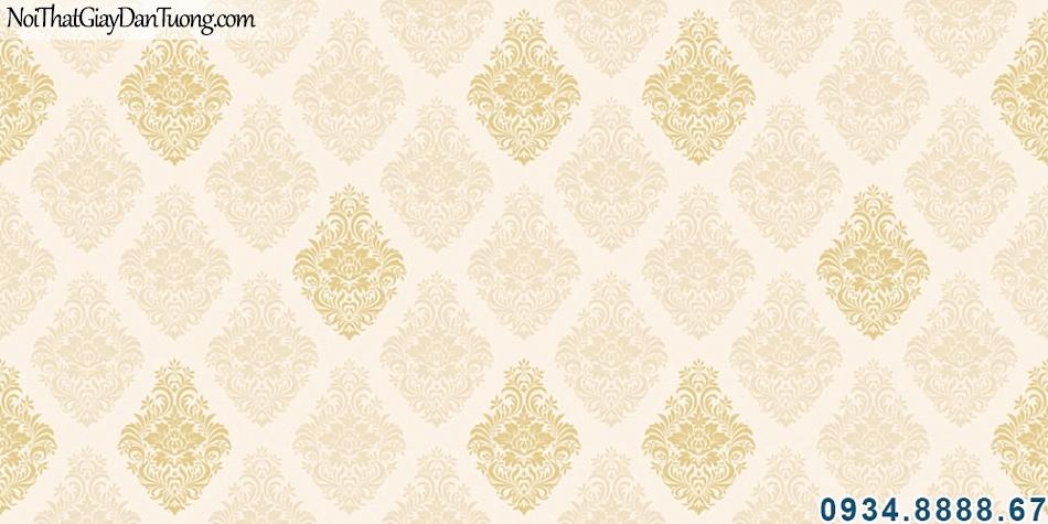 ALISHA, Giấy dán tường màu kem điểm hoa văn màu vàng, cách tính giấy dán tường, tính giá giấy dán tường cho phòng ngủ, phòng khách 3927-1
