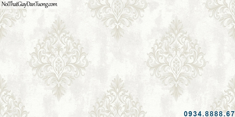 ALISHA, Giấy dán tường màu xám kem hoa văn cổ điển Châu Âu 3921-1