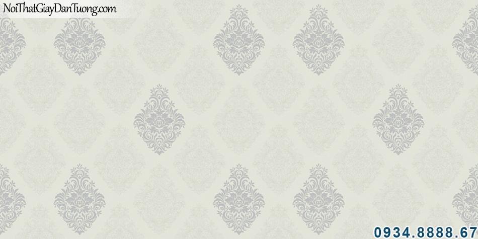 ALISHA, Giấy dán tường màu xám nhạt, điểm màu xám đậm, kích thước giấy dán tường Hàn Quốc 1.06m x 15.6m, cách tính diện tích phòng 3927-4