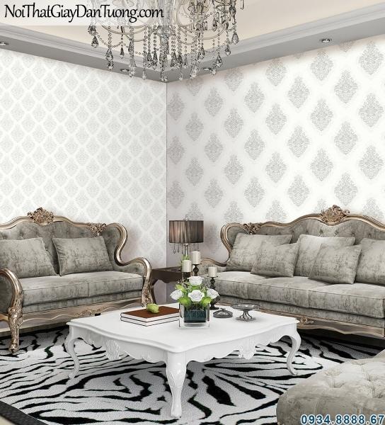 ALISHA, Giấy dán tường màu xám nhạt, trang trí cho không gian nội thất, phòng ngủ đẹp, phòng khách sang trọng 3926-1