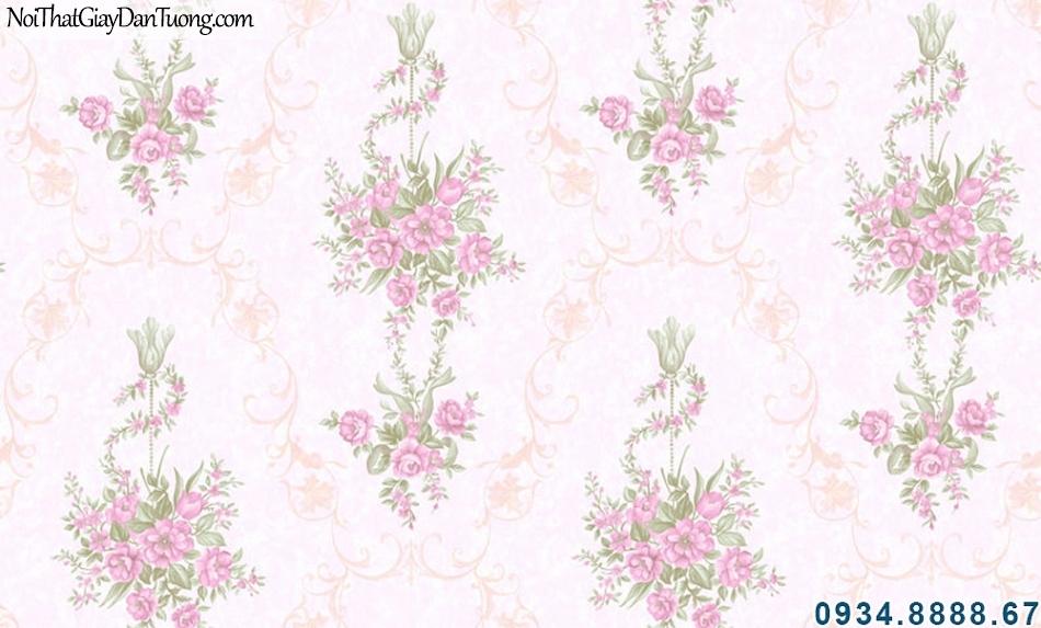 ALISHA, Giấy dán tường nền hồng nhạt, bông hồng đậm, giấy dán tường màu hồng, phù hợp phòng bạn gái, trẻ em, teen 3908-2