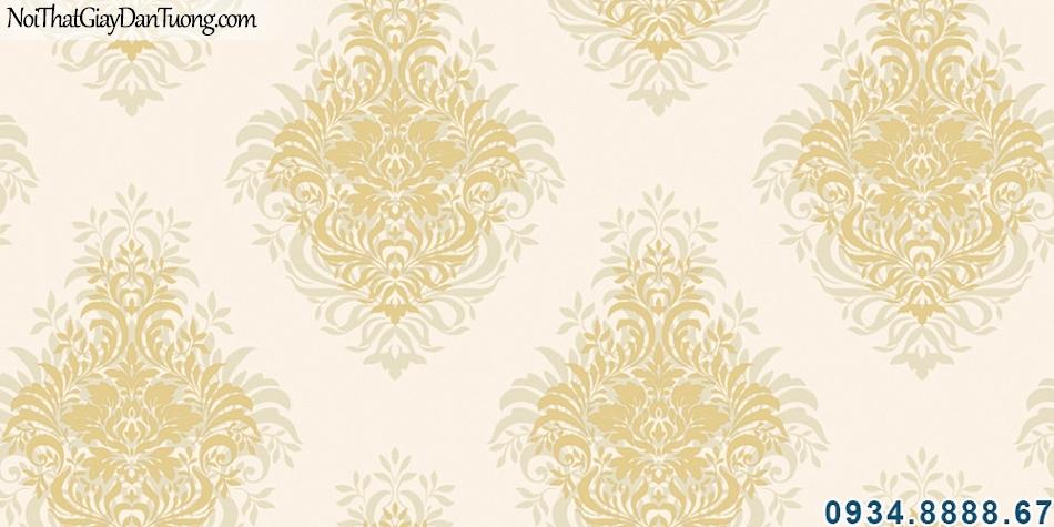 ALISHA, Giấy dán tường nền kem bông màu vàng đẹp lãng mạn phù hợp phòng ngủ và phòng khách 3926-2
