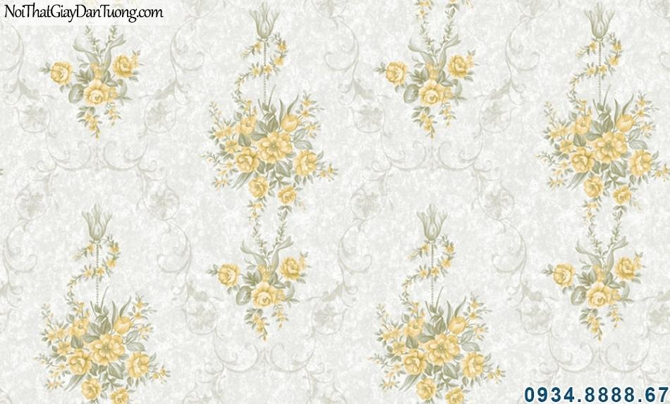 ALISHA, Giấy dán tường nền màu xám, bông màu vàng, nền xám kem chùm bông vàng 3908-1