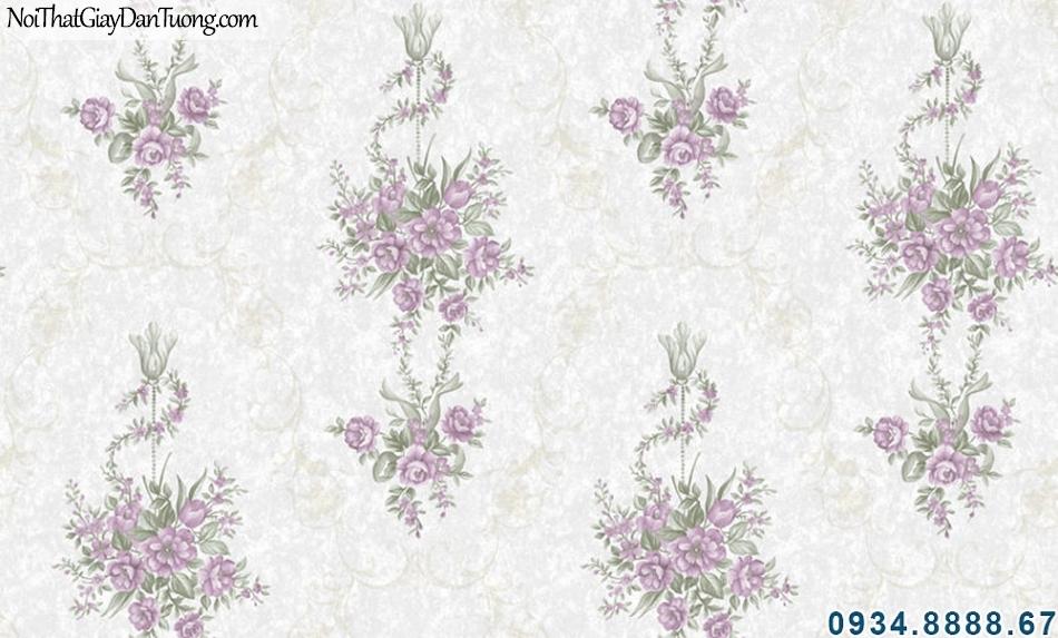ALISHA, Giấy dán tường nền xám kem bông màu tím, giấy dán tường điểm màu tím 3908-3
