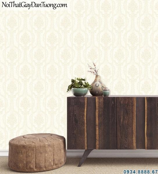 ALISHA, Giấy dán tường sọc và hoa, hoa văn sọc xám kem 3907-3