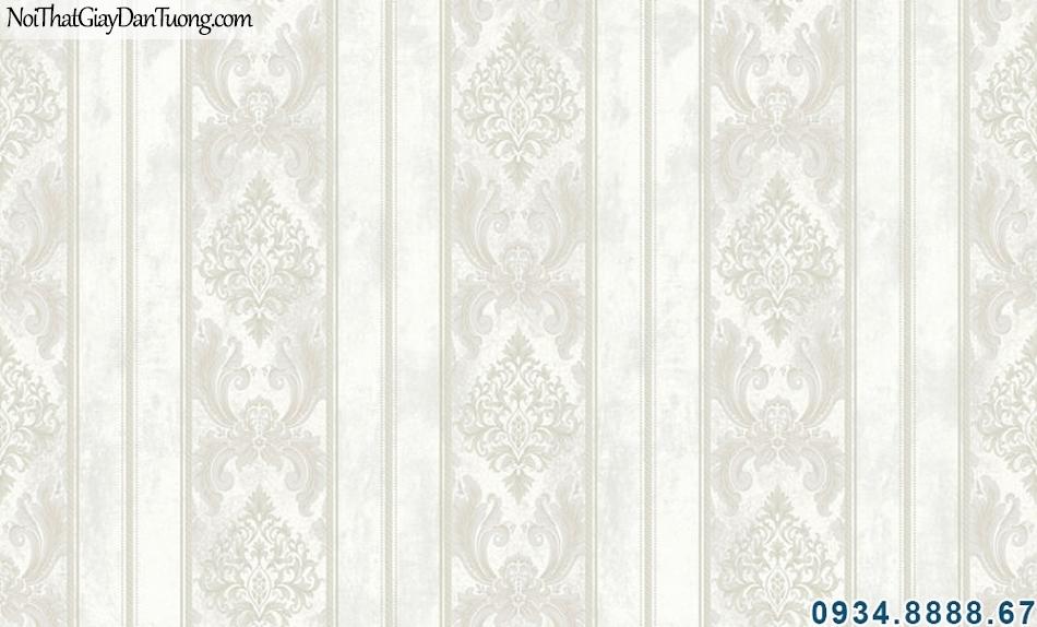 ALISHA, Giấy dán tường xám kem, sọc bông, giấy sọc và bông trắng xám 3922-1