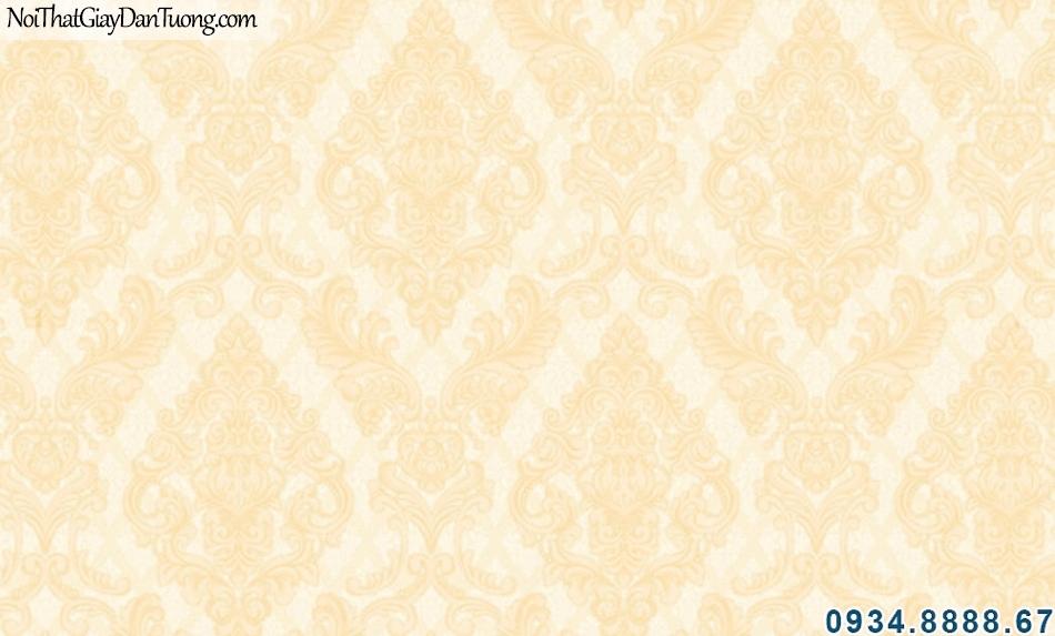 ALISHA, Giấy dán tường họa tiết cổ điển màu vàng, vàng nhạt vàng kem, thiết kế kiểu ca rô 3934-2