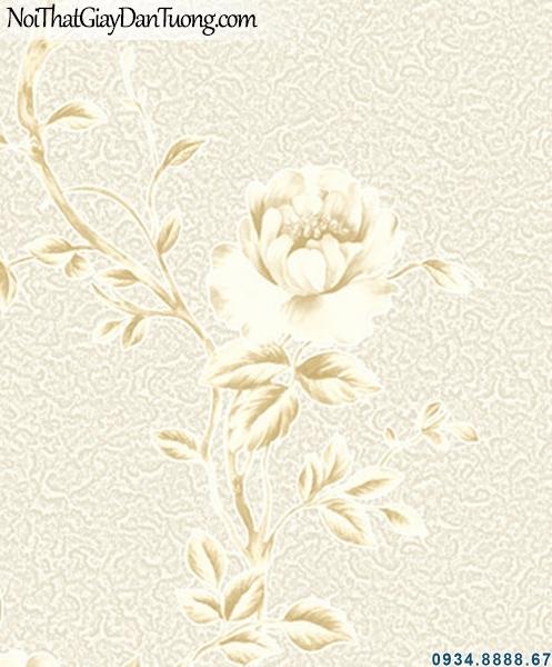 ALISHA, Giấy dán tường nền kem hoa văn leo màu vàng, hoa văn màu nhẹ 3936-1, đưa mẫu giấy xem tại nhà