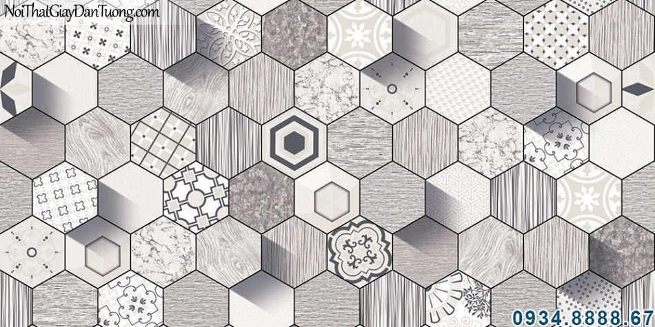 ALISHA, Giấy dán tường hình lục giác 3D, lục giác màu xám các hình lục giác xen kẽ nhau 3940-1