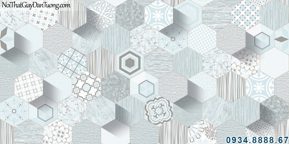 ALISHA, Giấy dán tường hình lục giác 3D màu xanh lam, màu xanh dương, màu xanh biển, xanh da trời nhạt 3940-3