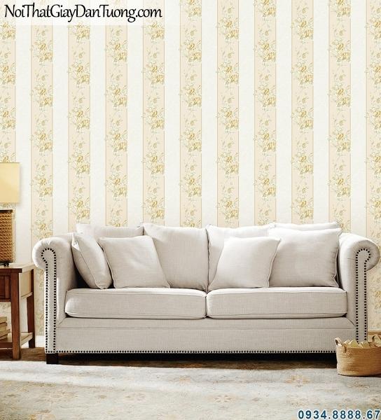 ALISHA, Giấy dán tường hoa leo tường kết hợp với sọc xuôi xuống 3938-1, tạo cảm giác nhà cao hơn, đẹp hơn