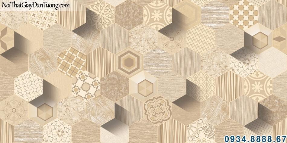 ALISHA, Giấy dán tường lục giác 3d màu vàng gỗ, giả gỗ 3D những hình lục giác nhỏ có hoa văn họa tiết 3940-2