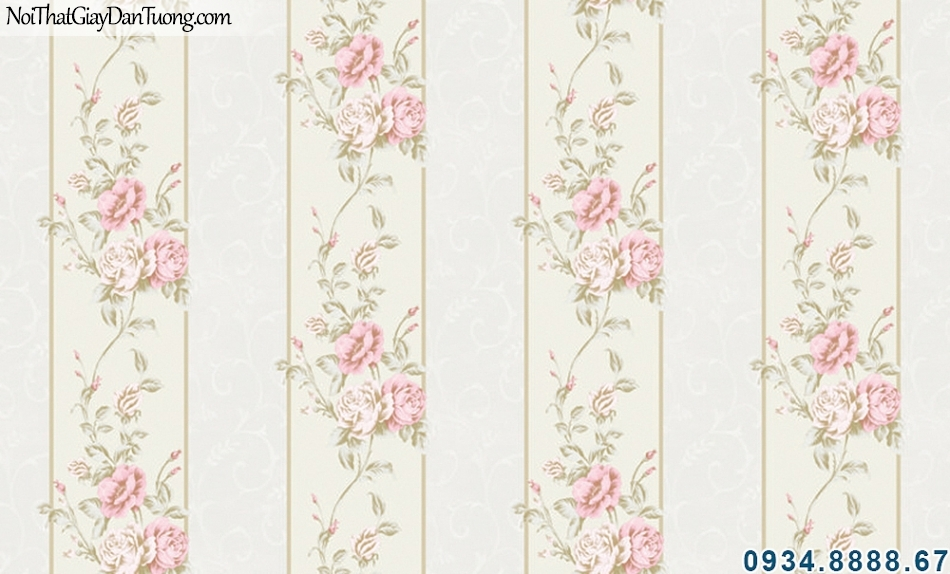 ALISHA, Giấy dán tường sọc hoa văn màu hồng, màu tím đẹp, day leo trên nền kem 3938-3, phù hợp cho phòng ngủ lãng mạn, tạo cảm giác phòng cao