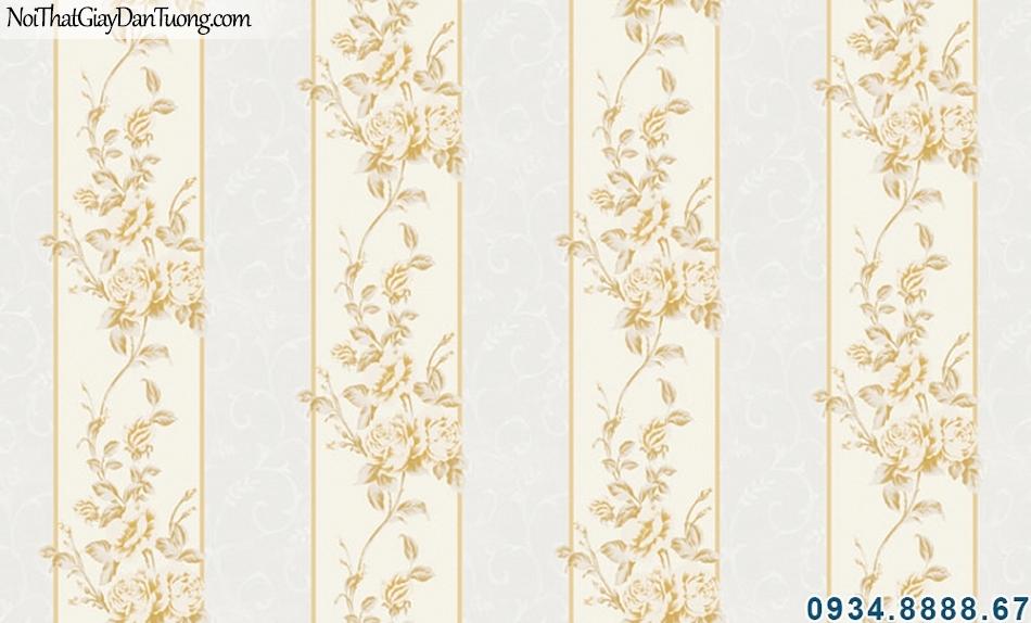 ALISHA, Giấy dán tường sọc hoa văn màu vàng kem, sọc thưa kết hợp hoa văn keo tường đẹp, phù hợp trang trí phòng ngủ 3938-1