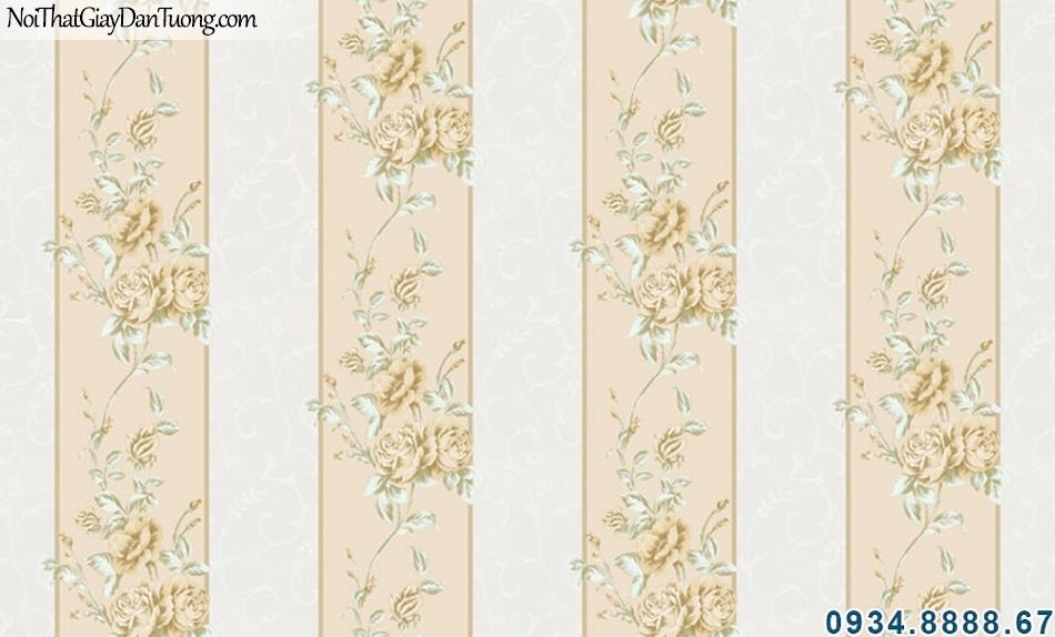 ALISHA, Giấy dán tường sọc vàng kem, giấy sọc bông leo 3938-2, trang trí phòng ngủ đẹp