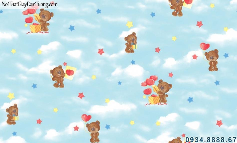 ALISHA, Giấy dán tường trẻ em hình bầu trời màu xanh dương, gấu bông trái tim hộp quà, phù hợp cho trang trí phòng bé trai và bé gái 3941-1