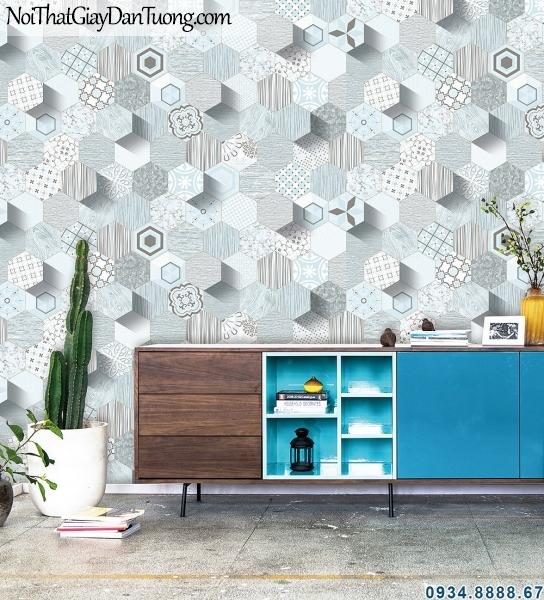 ALISHA, Phối cảnh giấy dán tường 3d lục giác, hình lục giác 3d màu xanh dương 3940-3
